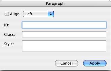 BBEdit Paragraph Style dialog