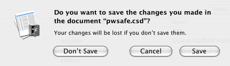 Do you want to save the changes you made in the document 'pwsafe.csd'?