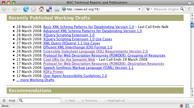 28 March 2008: Basic XML Schema Patterns for Databinding Version 1.0 - Last Call Ends NaN
