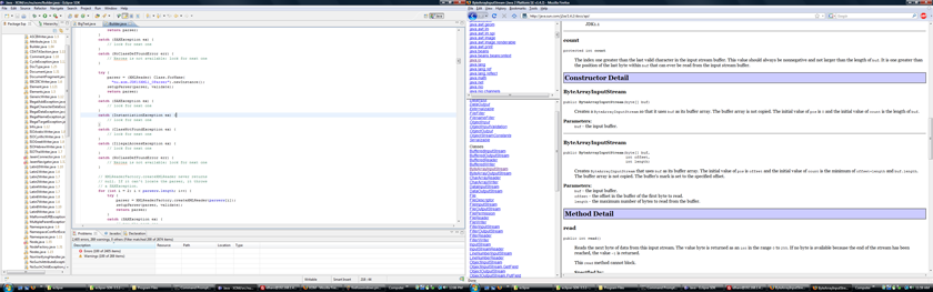 Eclipse on left monitor with menubar; Firefox on right monitor with menubar