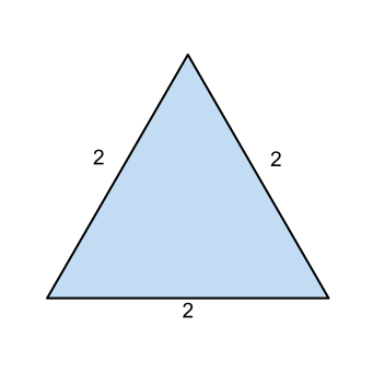 equilateral triangle with sides of length 2